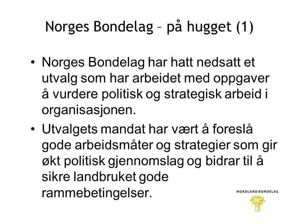 Norges Bondelag – på hugget (1) •Norges Bondelag har hatt nedsatt et utvalg som har arbeidet med oppgaver å vurdere politisk og strategisk arbeid i organisasjonen.