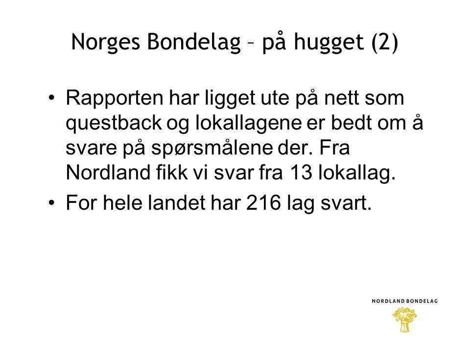 Norges Bondelag – på hugget (2) •Rapporten har ligget ute på nett som questback og lokallagene er bedt om å svare på spørsmålene der.