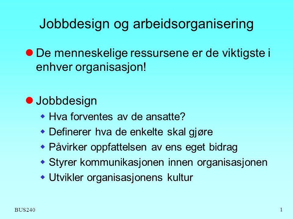 BUS240 2 Elementene i jobbdesign  Fordeling av arbeidsoppgaver mellom ulike personer  Rekkefølge på arbeidsoppgaver  Hvor skal ulike ting gjøres.