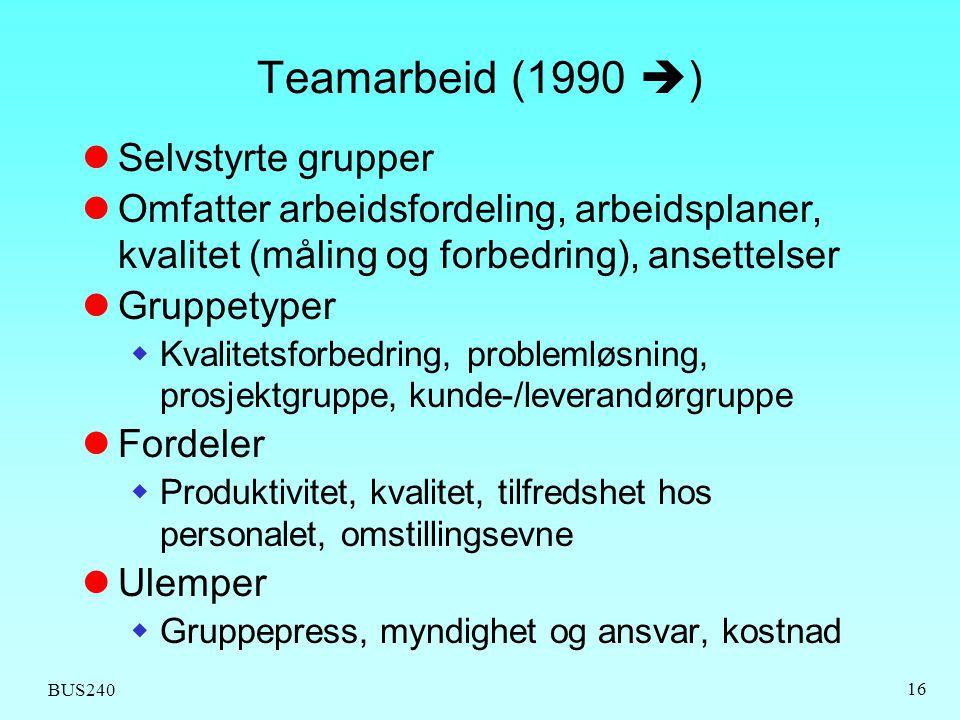 BUS240 16 Teamarbeid (1990  )  Selvstyrte grupper  Omfatter arbeidsfordeling, arbeidsplaner, kvalitet (måling og forbedring), ansettelser  Gruppet