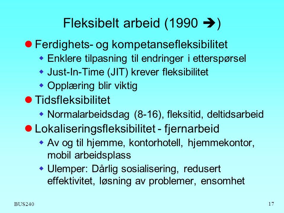 BUS240 17 Fleksibelt arbeid (1990  )  Ferdighets- og kompetansefleksibilitet  Enklere tilpasning til endringer i etterspørsel  Just-In-Time (JIT)