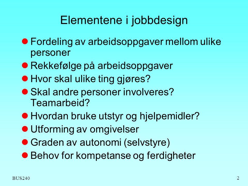 BUS240 2 Elementene i jobbdesign  Fordeling av arbeidsoppgaver mellom ulike personer  Rekkefølge på arbeidsoppgaver  Hvor skal ulike ting gjøres? 