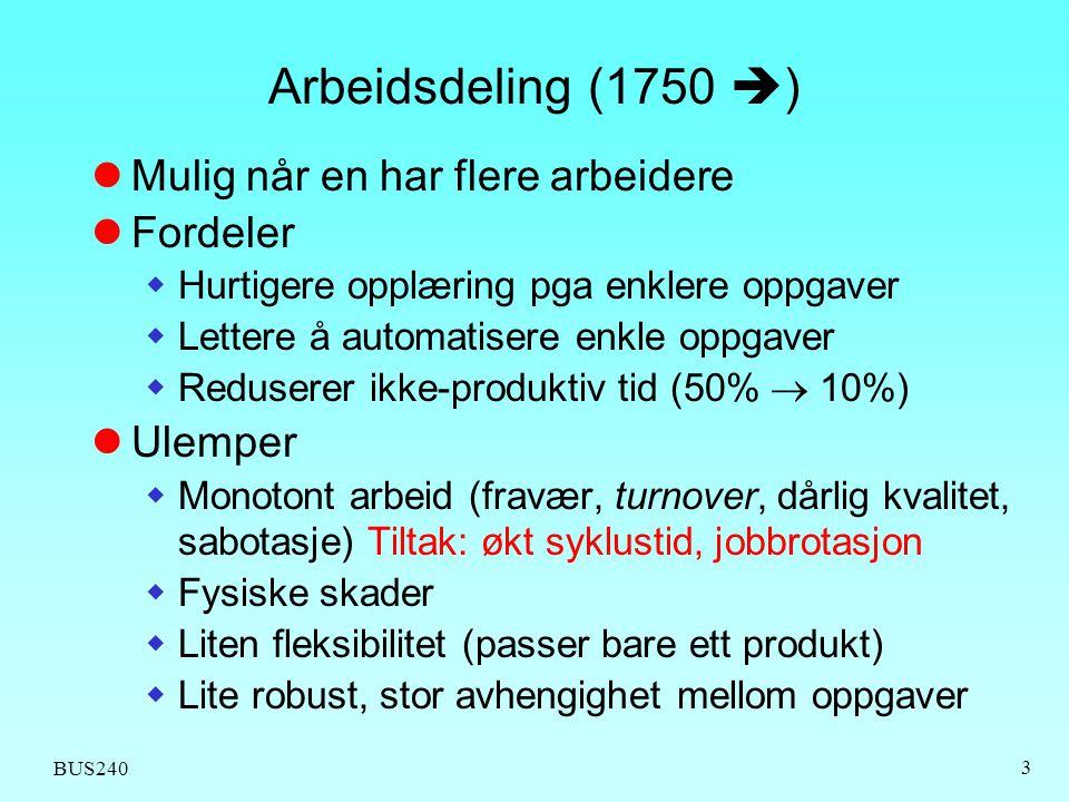 BUS240 3 Arbeidsdeling (1750  )  Mulig når en har flere arbeidere  Fordeler  Hurtigere opplæring pga enklere oppgaver  Lettere å automatisere enk