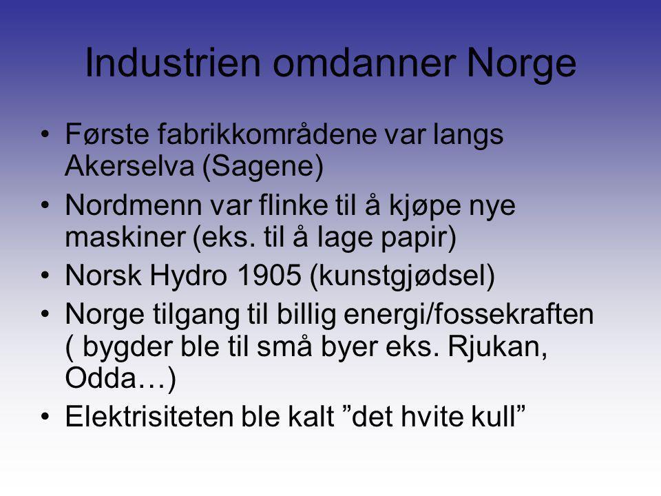 Industrien omdanner Norge •Første fabrikkområdene var langs Akerselva (Sagene) •Nordmenn var flinke til å kjøpe nye maskiner (eks. til å lage papir) •