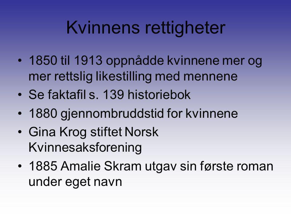 Kvinnens rettigheter •1850 til 1913 oppnådde kvinnene mer og mer rettslig likestilling med mennene •Se faktafil s. 139 historiebok •1880 gjennombrudds