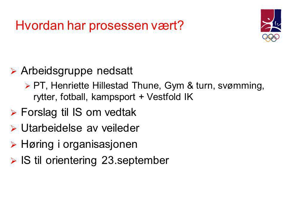 Hvordan har prosessen vært?  Arbeidsgruppe nedsatt  PT, Henriette Hillestad Thune, Gym & turn, svømming, rytter, fotball, kampsport + Vestfold IK 