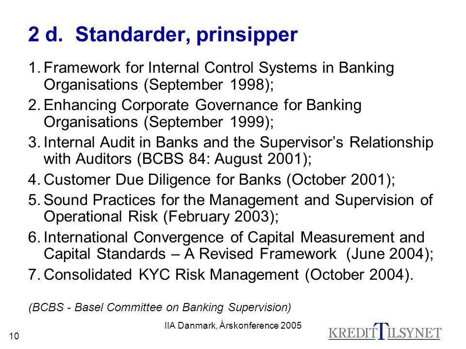 IIA Danmark, Årskonference 2005 10 2 d. Standarder, prinsipper 1.Framework for Internal Control Systems in Banking Organisations (September 1998); 2.E