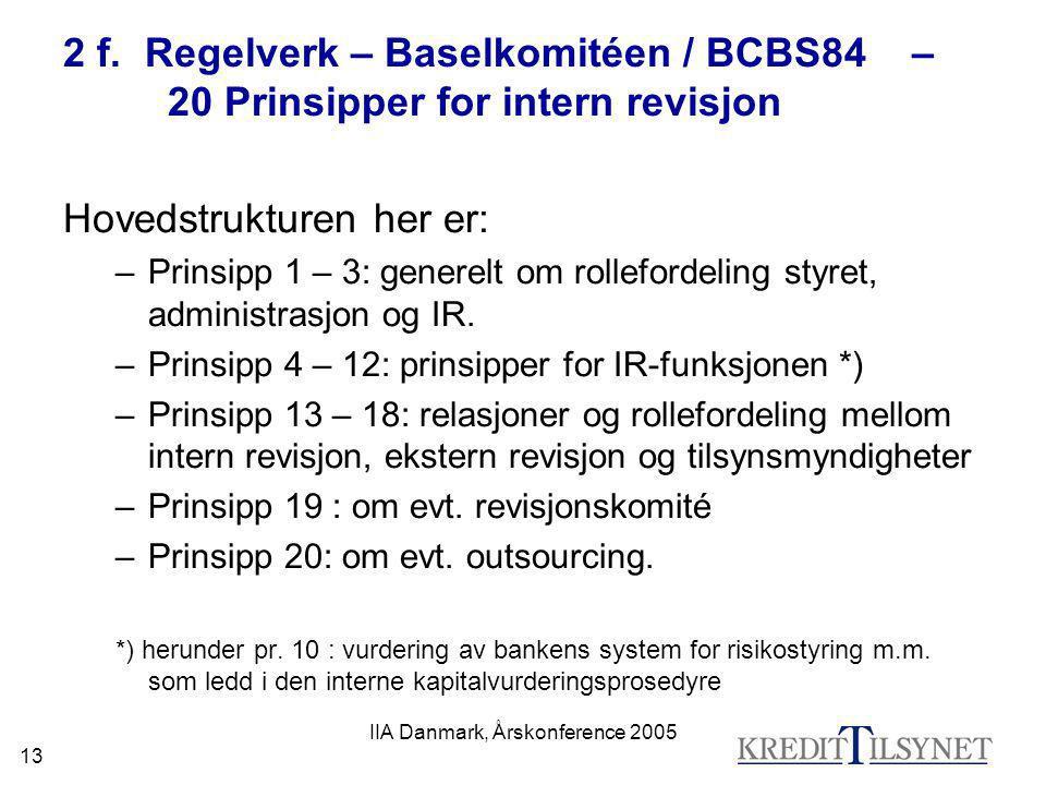 IIA Danmark, Årskonference 2005 13 2 f. Regelverk – Baselkomitéen / BCBS84 – 20 Prinsipper for intern revisjon Hovedstrukturen her er: –Prinsipp 1 – 3