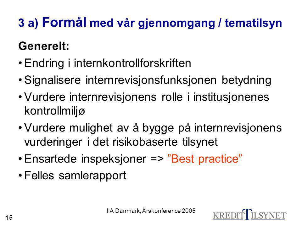 IIA Danmark, Årskonference 2005 15 3 a) Formål med vår gjennomgang / tematilsyn Generelt: •Endring i internkontrollforskriften •Signalisere internrevi