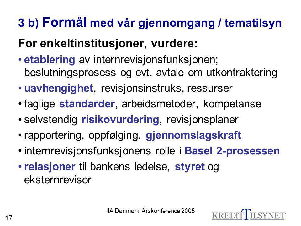 IIA Danmark, Årskonference 2005 17 3 b) Formål med vår gjennomgang / tematilsyn For enkeltinstitusjoner, vurdere: •etablering av internrevisjonsfunksj