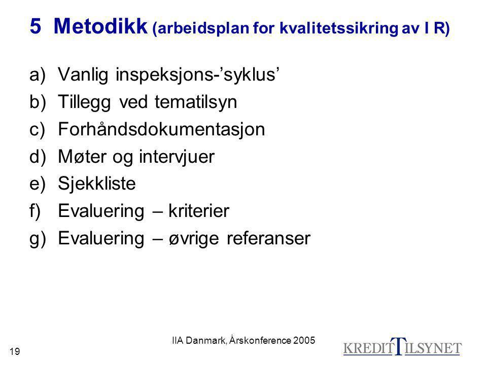 IIA Danmark, Årskonference 2005 19 5 Metodikk (arbeidsplan for kvalitetssikring av I R) a)Vanlig inspeksjons-'syklus' b)Tillegg ved tematilsyn c)Forhå