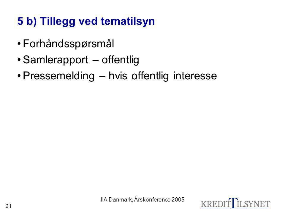 IIA Danmark, Årskonference 2005 21 5 b) Tillegg ved tematilsyn •Forhåndsspørsmål •Samlerapport – offentlig •Pressemelding – hvis offentlig interesse