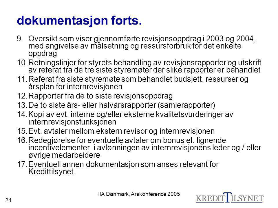 IIA Danmark, Årskonference 2005 24 dokumentasjon forts. 9.Oversikt som viser gjennomførte revisjonsoppdrag i 2003 og 2004, med angivelse av målsetning