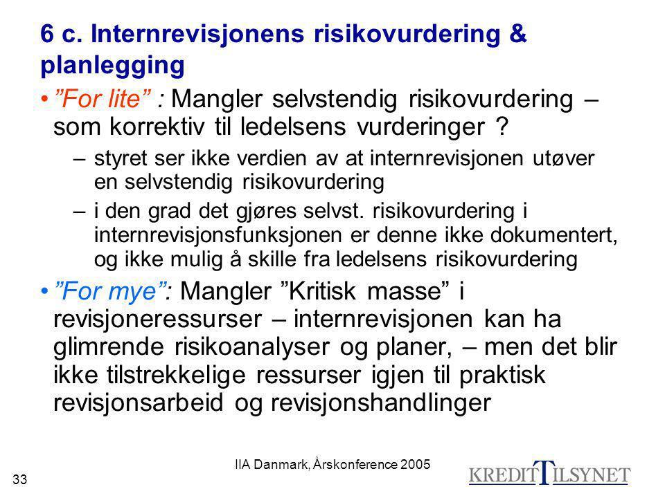 """IIA Danmark, Årskonference 2005 33 6 c. Internrevisjonens risikovurdering & planlegging •""""For lite"""" : Mangler selvstendig risikovurdering – som korrek"""