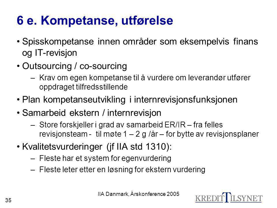 IIA Danmark, Årskonference 2005 35 6 e. Kompetanse, utførelse •Spisskompetanse innen områder som eksempelvis finans og IT-revisjon •Outsourcing / co-s