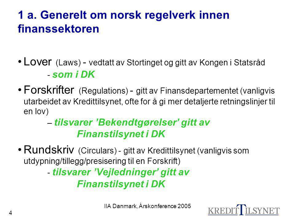 IIA Danmark, Årskonference 2005 4 1 a. Generelt om norsk regelverk innen finanssektoren •Lover (Laws) - vedtatt av Stortinget og gitt av Kongen i Stat