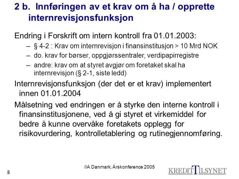 IIA Danmark, Årskonference 2005 19 5 Metodikk (arbeidsplan for kvalitetssikring av I R) a)Vanlig inspeksjons-'syklus' b)Tillegg ved tematilsyn c)Forhåndsdokumentasjon d)Møter og intervjuer e)Sjekkliste f)Evaluering – kriterier g)Evaluering – øvrige referanser