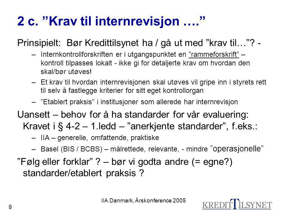 IIA Danmark, Årskonference 2005 20 5 a) Inspeksjonssyklus – vanlig modell 1) Kredittilsynet sender INSPEKSJONSVARSEL til bankens styre 2) Institusjonen oversender DOKUMENTASJON 3) Kredittilsynet foretar INSPEKSJON (stedlig tilsyn) 4) Kredittilsynet avgir RAPPORT (u.o.) til bankens styre 5) Styret avgir TILSVAR 6) Kredittilsynet avgir MERKNADER (off.)