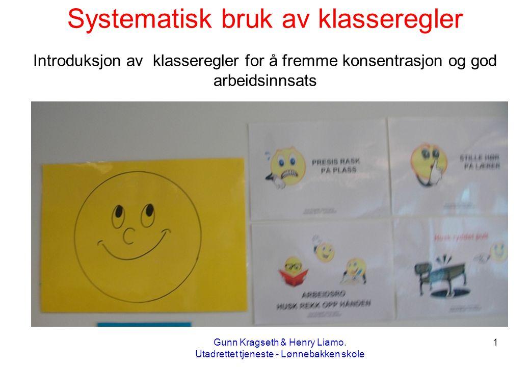 1 Systematisk bruk av klasseregler Introduksjon av klasseregler for å fremme konsentrasjon og god arbeidsinnsats Gunn Kragseth & Henry Liamo. Utadrett