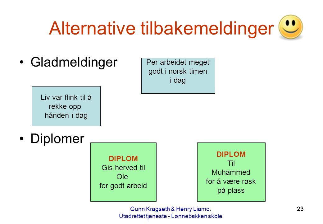 23 Alternative tilbakemeldinger •Gladmeldinger •Diplomer Per arbeidet meget godt i norsk timen i dag Liv var flink til å rekke opp hånden i dag DIPLOM