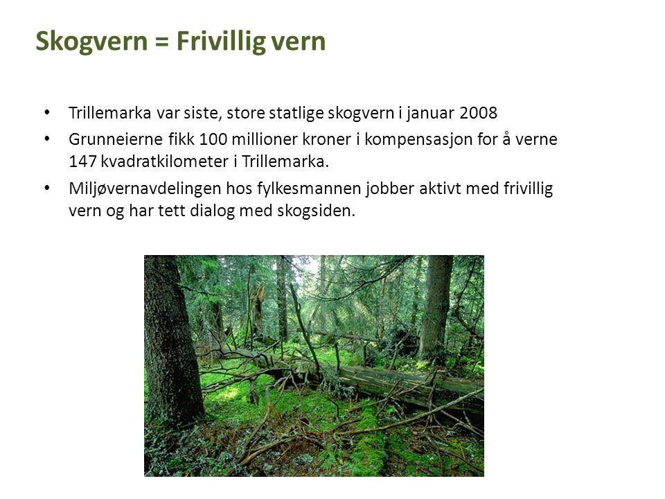 • Trillemarka var siste, store statlige skogvern i januar 2008 • Grunneierne fikk 100 millioner kroner i kompensasjon for å verne 147 kvadratkilometer i Trillemarka.