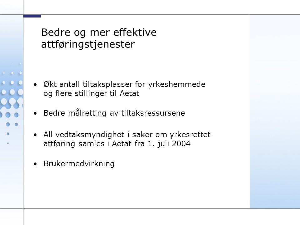 12 Bedre og mer effektive attføringstjenester •Økt antall tiltaksplasser for yrkeshemmede og flere stillinger til Aetat •Bedre målretting av tiltaksressursene •All vedtaksmyndighet i saker om yrkesrettet attføring samles i Aetat fra 1.
