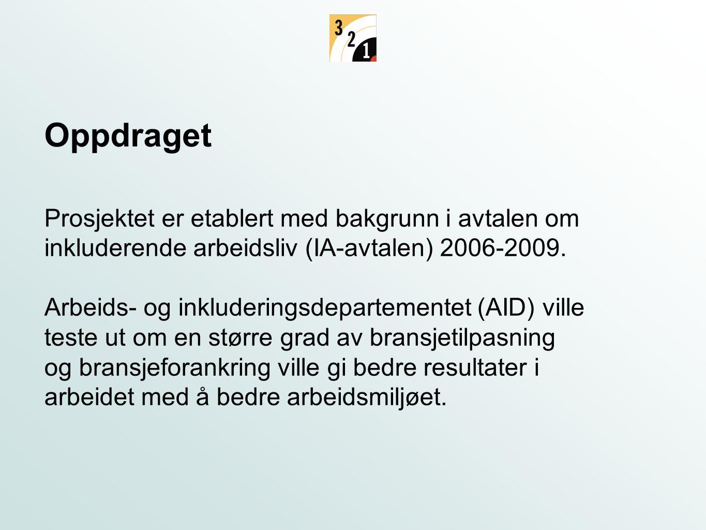 Prosjektet er etablert med bakgrunn i avtalen om inkluderende arbeidsliv (IA-avtalen) 2006-2009. Arbeids- og inkluderingsdepartementet (AID) ville tes
