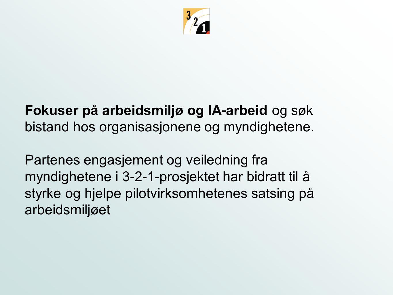 Fokuser på arbeidsmiljø og IA-arbeid og søk bistand hos organisasjonene og myndighetene. Partenes engasjement og veiledning fra myndighetene i 3-2-1-p