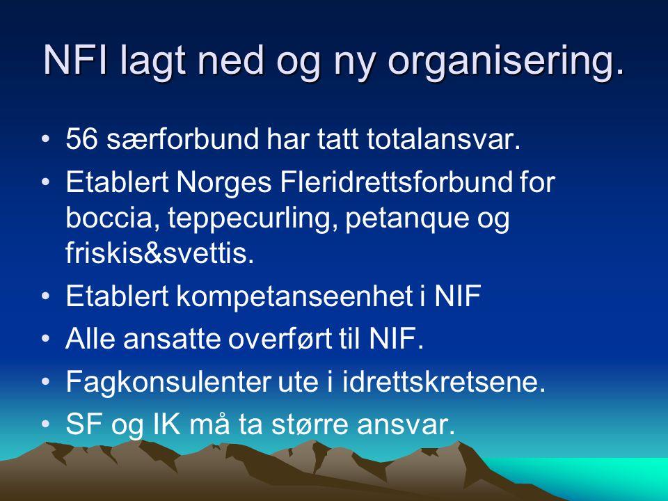 NFI lagt ned og ny organisering. •56 særforbund har tatt totalansvar.