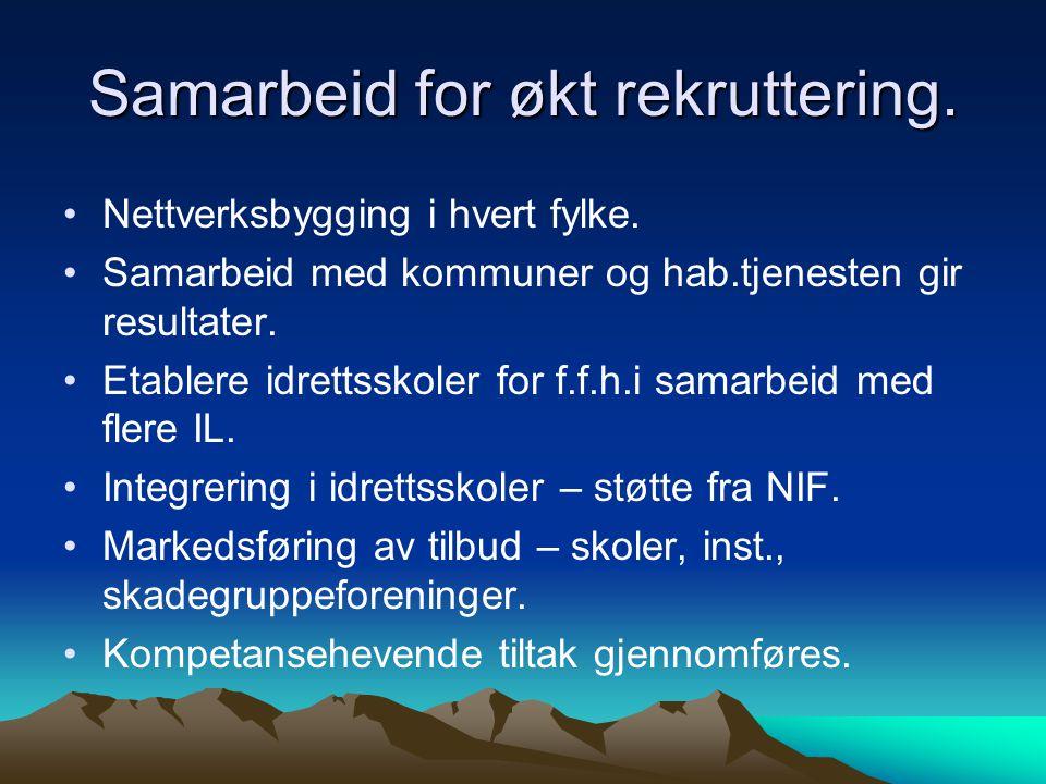 Samarbeid for økt rekruttering. •Nettverksbygging i hvert fylke.