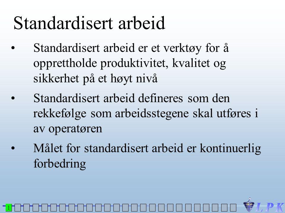 •Standardisert arbeid er et verktøy for å opprettholde produktivitet, kvalitet og sikkerhet på et høyt nivå •Standardisert arbeid defineres som den re