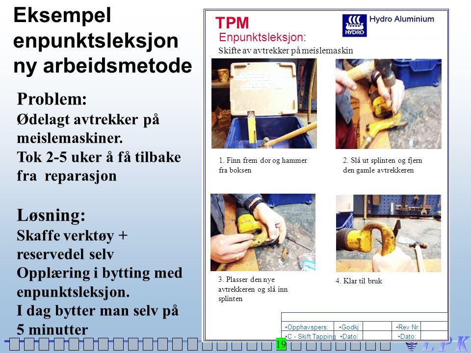 TPM Enpunktsleksjon: •Dato: •C - Skift Tapping •Rev Nr:•Godkj : •Opphavspers: Skifte av avtrekker på meislemaskin 1. Finn frem dor og hammer fra bokse