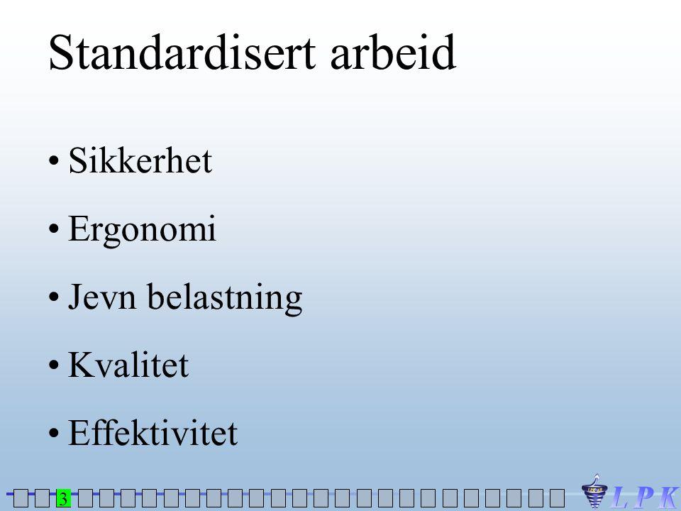 Standardisert arbeid •Sikkerhet •Ergonomi •Jevn belastning •Kvalitet •Effektivitet 3