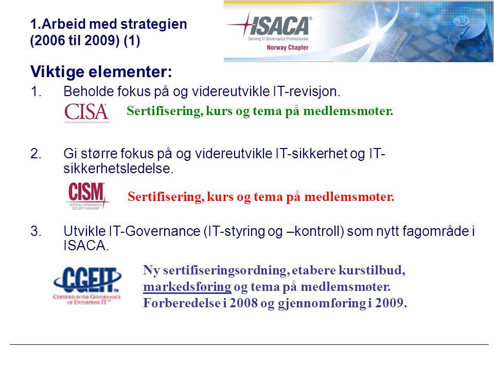 1.Arbeid med strategien (2006 til 2009) (2) Viktige elementer forts: 4.Utvikle kurstilbud basert på CobiT.