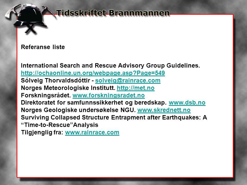 Referanse liste International Search and Rescue Advisory Group Guidelines. http://ochaonline.un.org/webpage.asp?Page=549 Sólveig Thorvaldsdóttir - sol