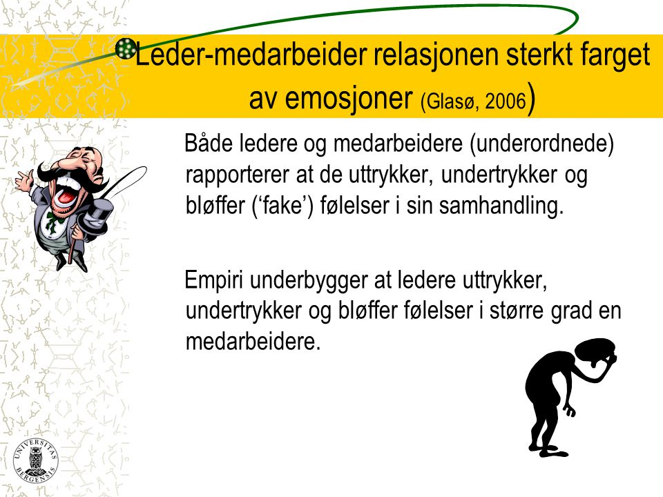 Leder-medarbeider relasjonen sterkt farget av emosjoner (Glasø, 2006 ) Både ledere og medarbeidere (underordnede) rapporterer at de uttrykker, undertr