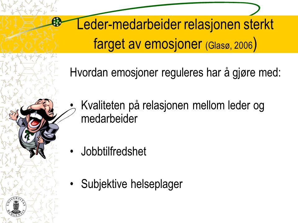 Leder-medarbeider relasjonen sterkt farget av emosjoner (Glasø, 2006 ) Hvordan emosjoner reguleres har å gjøre med: •Kvaliteten på relasjonen mellom l