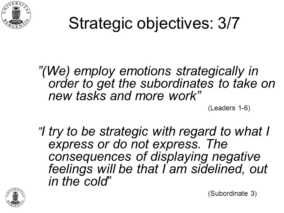 Strategic objectives: 3/7 (We) employ emotions strategically in order to get the subordinates to take on new tasks and more work (Leaders 1-6) I try to be strategic with regard to what I express or do not express.