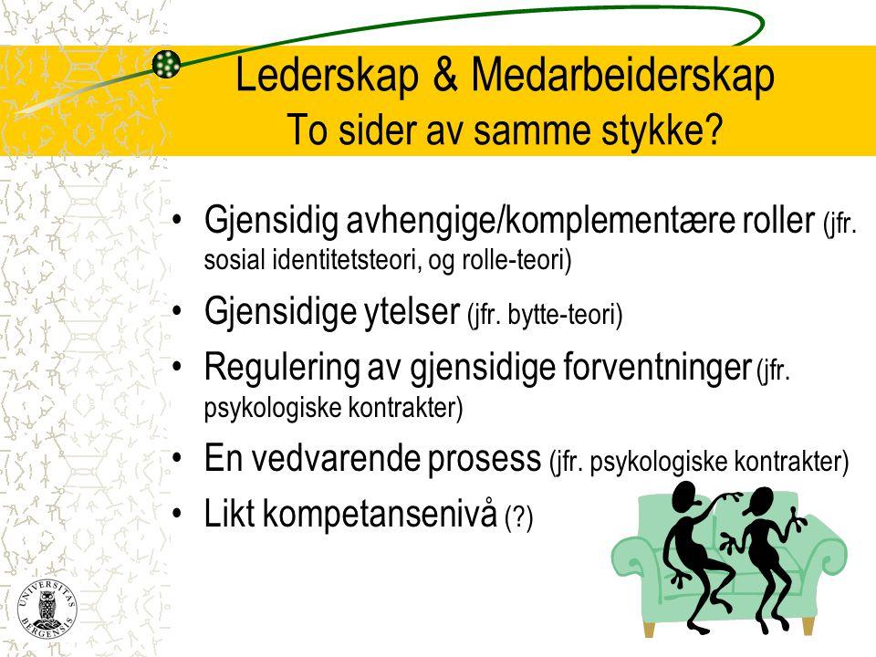 Lederskap & Medarbeiderskap To sider av samme stykke? •Gjensidig avhengige/komplementære roller (jfr. sosial identitetsteori, og rolle-teori) •Gjensid