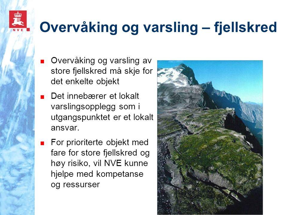 Overvåking og varsling – fjellskred ■ Overvåking og varsling av store fjellskred må skje for det enkelte objekt ■ Det innebærer et lokalt varslingsopp