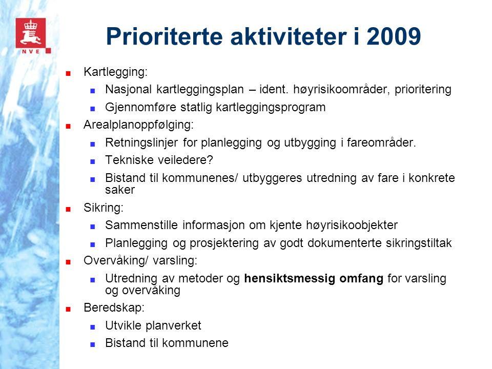 Prioriterte aktiviteter i 2009 ■ Kartlegging: ■ Nasjonal kartleggingsplan – ident. høyrisikoområder, prioritering ■ Gjennomføre statlig kartleggingspr