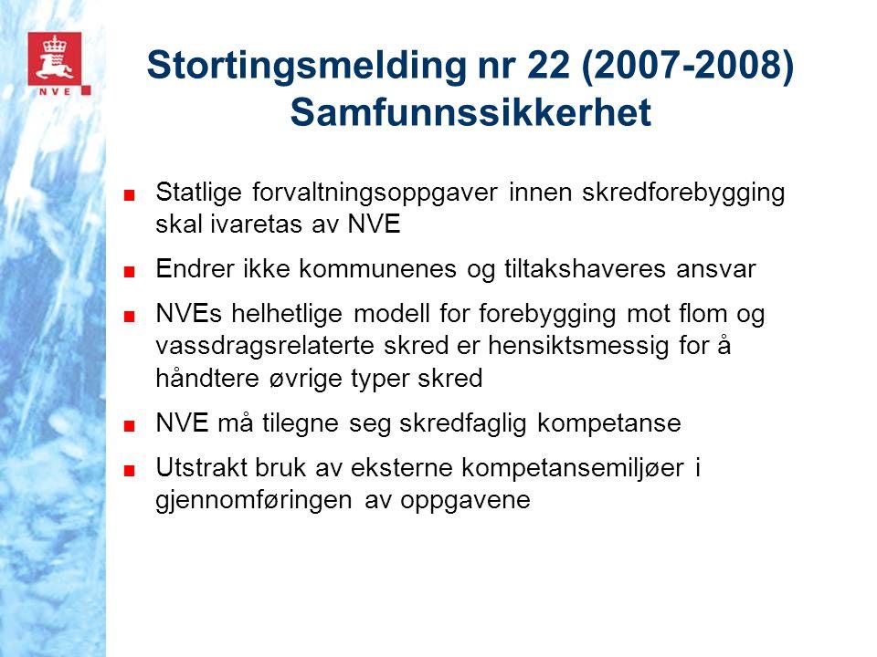 Stortingsmelding nr 22 (2007-2008) Samfunnssikkerhet ■ Statlige forvaltningsoppgaver innen skredforebygging skal ivaretas av NVE ■ Endrer ikke kommune