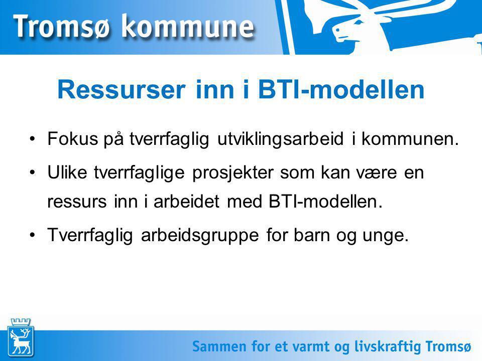 Ressurser inn i BTI-modellen •Fokus på tverrfaglig utviklingsarbeid i kommunen. •Ulike tverrfaglige prosjekter som kan være en ressurs inn i arbeidet