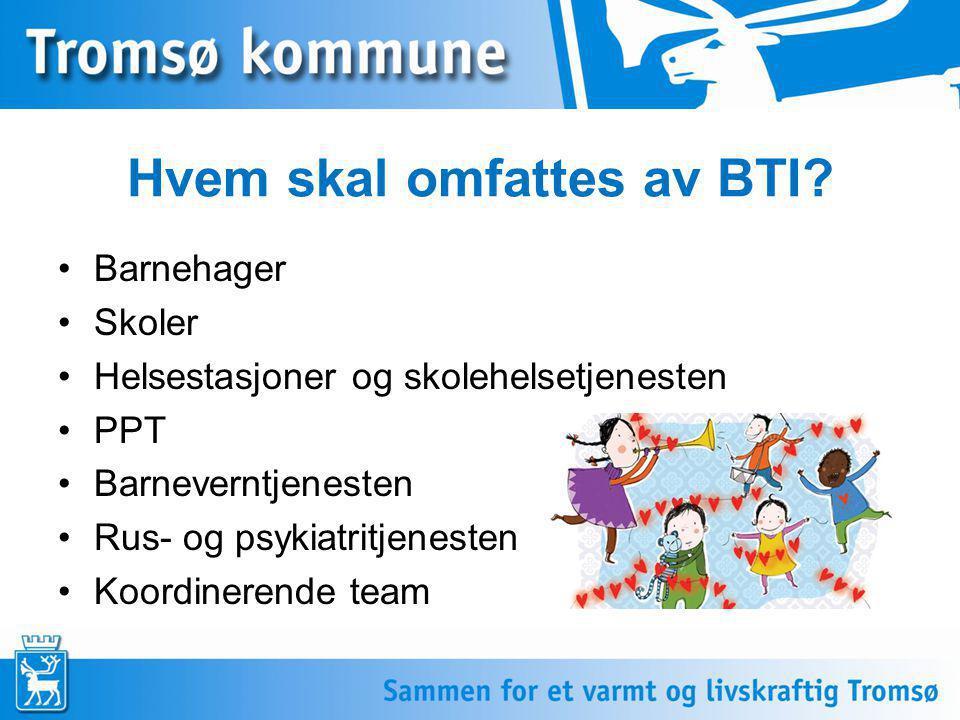Hvem skal omfattes av BTI? •Barnehager •Skoler •Helsestasjoner og skolehelsetjenesten •PPT •Barneverntjenesten •Rus- og psykiatritjenesten •Koordinere