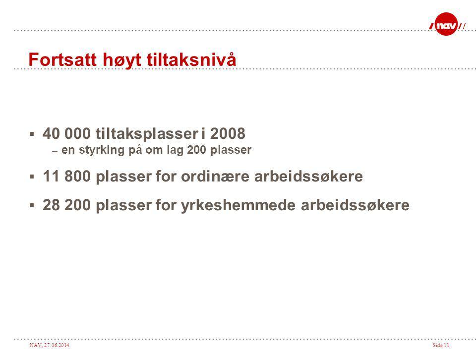 NAV, 27.06.2014Side 11 Fortsatt høyt tiltaksnivå  40 000 tiltaksplasser i 2008 – en styrking på om lag 200 plasser  11 800 plasser for ordinære arbe
