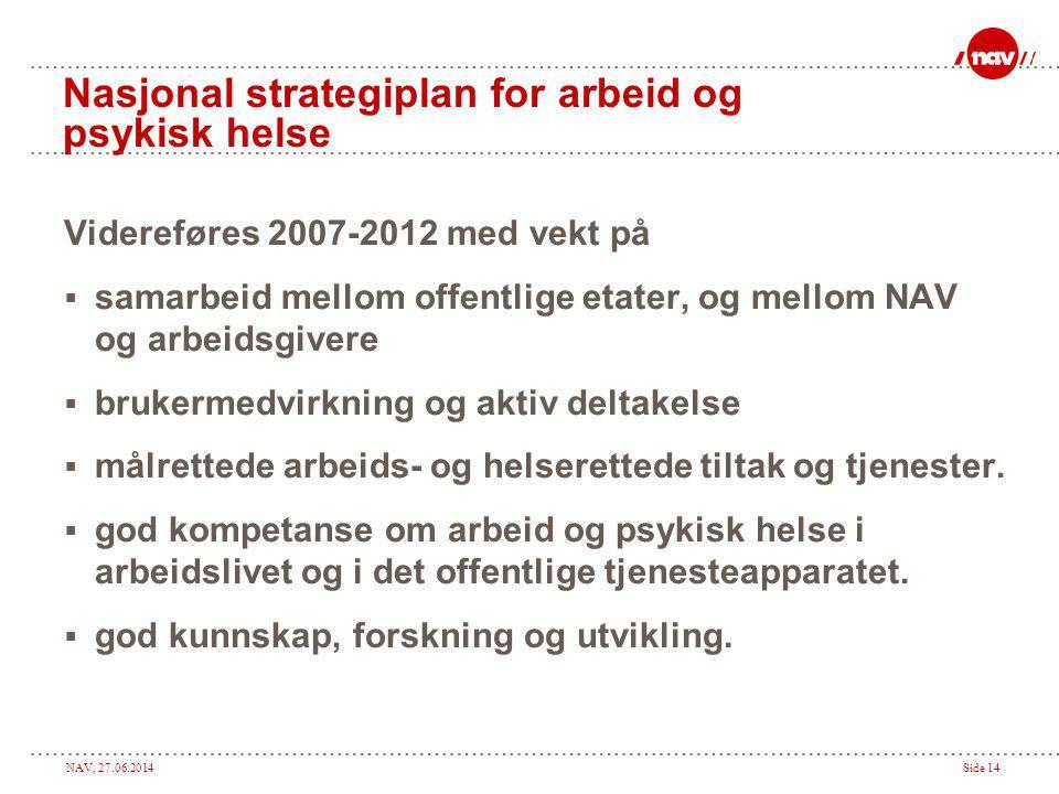 NAV, 27.06.2014Side 14 Nasjonal strategiplan for arbeid og psykisk helse Videreføres 2007-2012 med vekt på  samarbeid mellom offentlige etater, og me