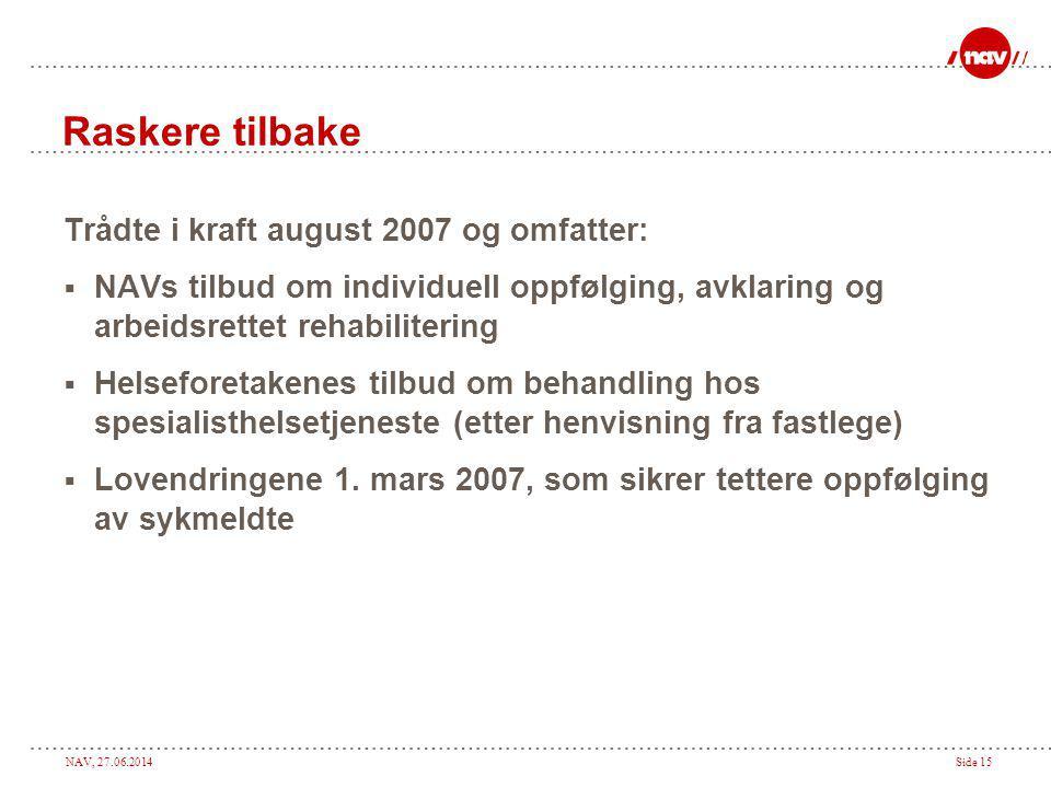 NAV, 27.06.2014Side 15 Raskere tilbake Trådte i kraft august 2007 og omfatter:  NAVs tilbud om individuell oppfølging, avklaring og arbeidsrettet reh