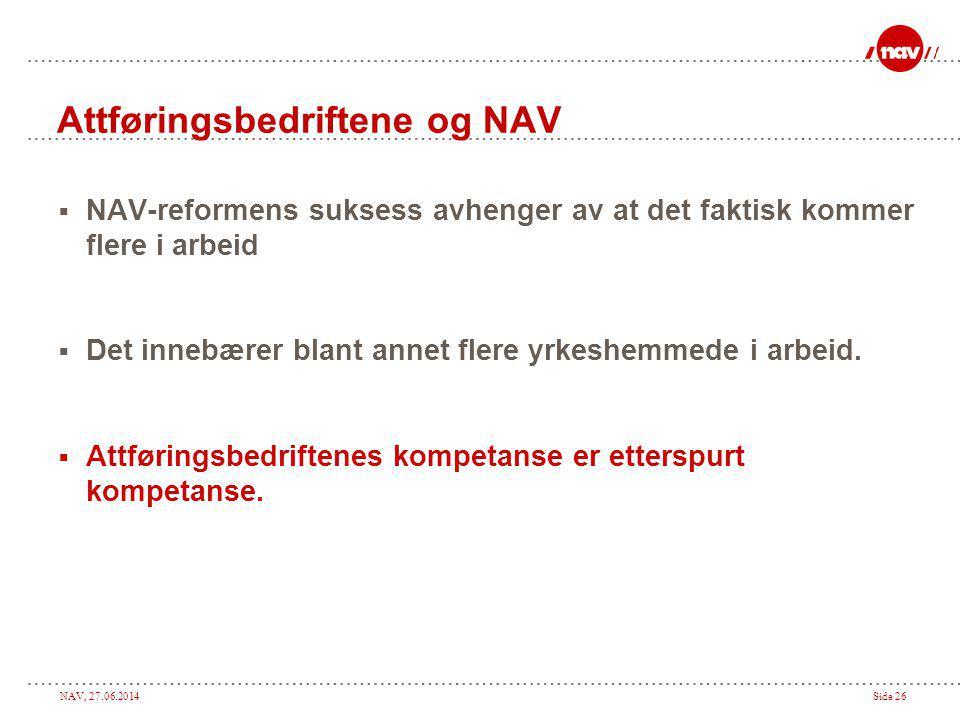NAV, 27.06.2014Side 26 Attføringsbedriftene og NAV  NAV-reformens suksess avhenger av at det faktisk kommer flere i arbeid  Det innebærer blant anne