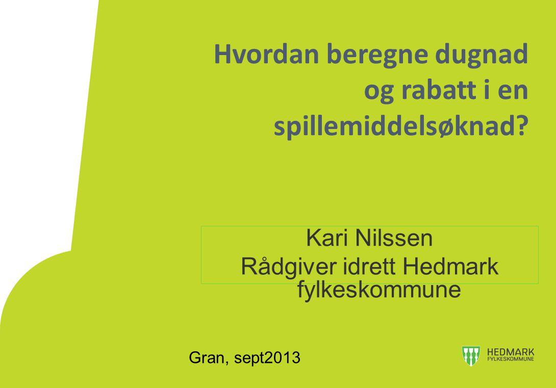 Gran, sept2013 Hvordan beregne dugnad og rabatt i en spillemiddelsøknad? Kari Nilssen Rådgiver idrett Hedmark fylkeskommune