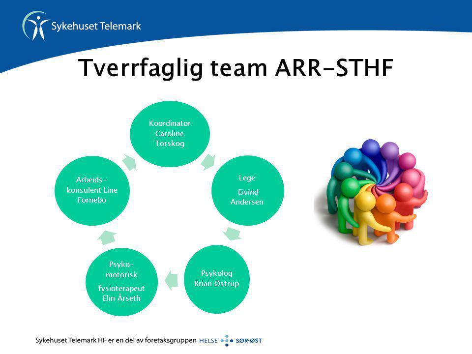 Tverrfaglig team ARR-STHF Koordinator Caroline Torskog Lege Eivind Andersen Psykolog Brian Østrup Psyko- motorisk fysioterapeut Elin Årseth Arbeids- k